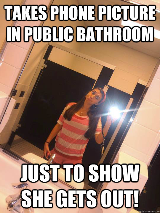 Takes Phone Picture In Public Bathroom Just To Show She Gets Out