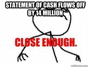Statement of Cash flows off by 14 million  - Statement of Cash flows off by 14 million   Misc