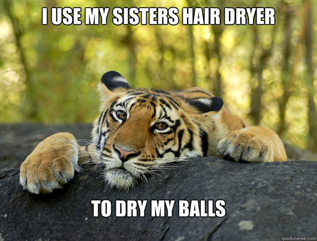I use my sisters hair dryer to dry my balls