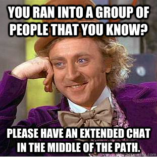 You ran into a group of people that you know? Please have an extended chat in the middle of the path. - You ran into a group of people that you know? Please have an extended chat in the middle of the path.  Condescending Wonka