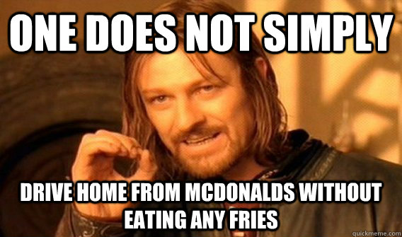 One does not simply drive home from mcdonalds without eating any fries - One does not simply drive home from mcdonalds without eating any fries  One does not simply beat skyrim