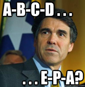 A-B-C-D . . . . . . E-P-A?  Perry Oops