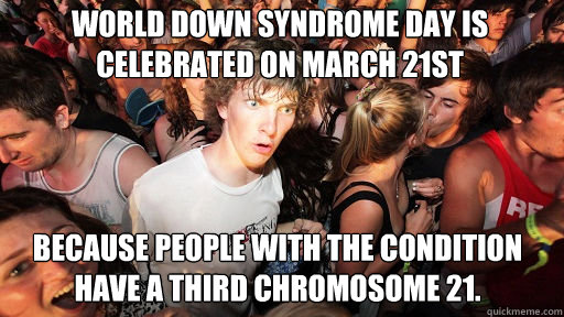 World Down Syndrome day is celebrated on March 21st  Because people with the condition have a third chromosome 21. - World Down Syndrome day is celebrated on March 21st  Because people with the condition have a third chromosome 21.  Sudden Clarity Clarence