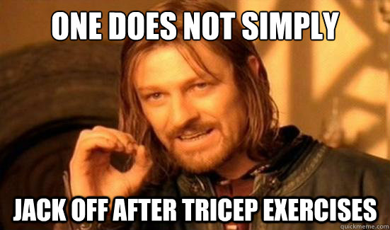 One does not simply  jack off after tricep exercises - One does not simply  jack off after tricep exercises  Boromir
