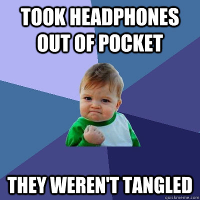 Took headphones out of pocket They weren't tangled - Took headphones out of pocket They weren't tangled  Success Kid