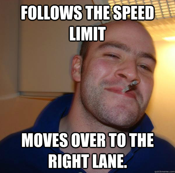 follows the speed limit  moves over to the right lane. - follows the speed limit  moves over to the right lane.  Misc