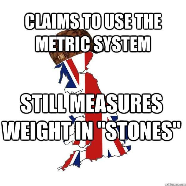 Claims to use the metric system Still measures weight in