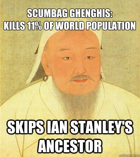 scumbag ghenghis: Kills 11% of world population skips ian stanley's ancestor  Historic Anagrams