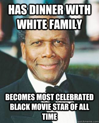 Has dinner with white family Becomes most celebrated black movie star of all time