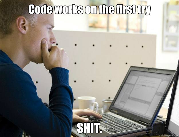 Code works on the first try SHIT.  Programmer
