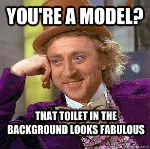 You're a model? That toilet in the background looks fabulous - You're a model? That toilet in the background looks fabulous  Condescending Wonka