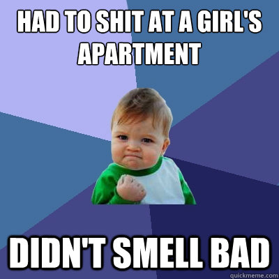 had to shit at a girl's apartment didn't smell bad - had to shit at a girl's apartment didn't smell bad  Success Kid