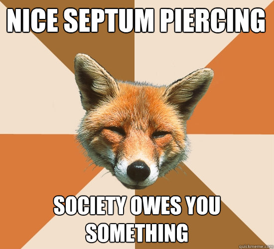 4d53a28cfb327e241f64563500598f9ba9c364c2f383817e179c22f550c6c568 nice septum piercing society owes you something condescending,Septum Piercing Meme