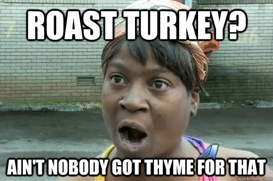 Roast turkey? ain't nobody got thyme for that - Roast turkey? ain't nobody got thyme for that  Aint nobody got time for that