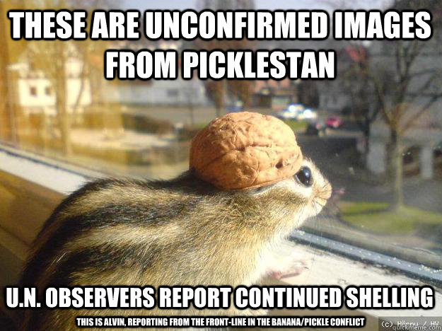 These are unconfirmed images from Picklestan U.N. observers report continued shelling This is Alvin, reporting from the front-line in the banana/pickle conflict