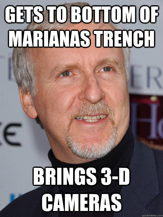 Gets to bottom of Marianas Trench Brings 3-D Cameras