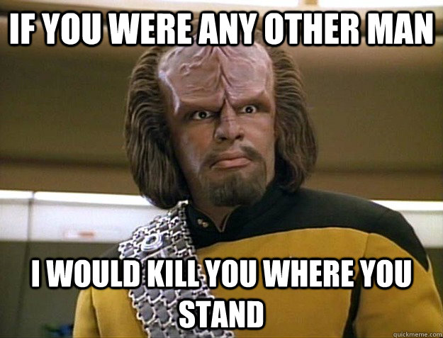if you were any other man i would kill you where you stand - if you were any other man i would kill you where you stand  Worf Delicious