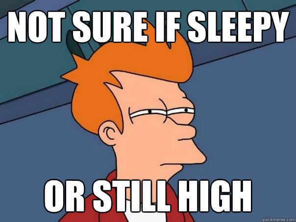 not sure if sleepy or still high - not sure if sleepy or still high  Futurama Fry
