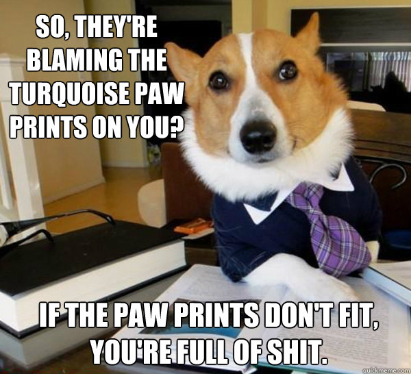 So, they're blaming the turquoise paw prints on you? If the paw prints don't fit, you're full of shit. - So, they're blaming the turquoise paw prints on you? If the paw prints don't fit, you're full of shit.  Lawyer Dog