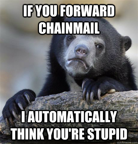 If you forward chainmail I automatically think you're stupid - If you forward chainmail I automatically think you're stupid  Confession Bear