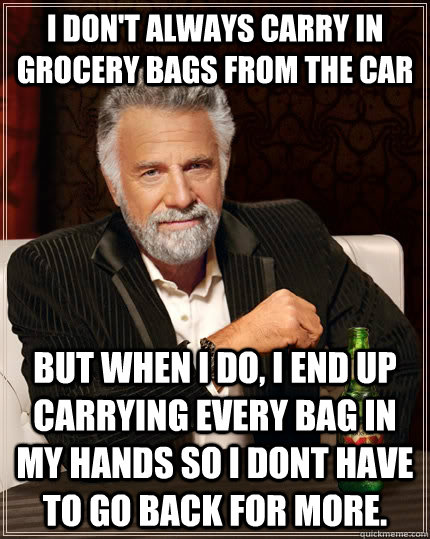 I don't always carry in grocery bags from the car but when I do, i end up carrying every bag in my hands so i dont have to go back for more. - I don't always carry in grocery bags from the car but when I do, i end up carrying every bag in my hands so i dont have to go back for more.  The Most Interesting Man In The World
