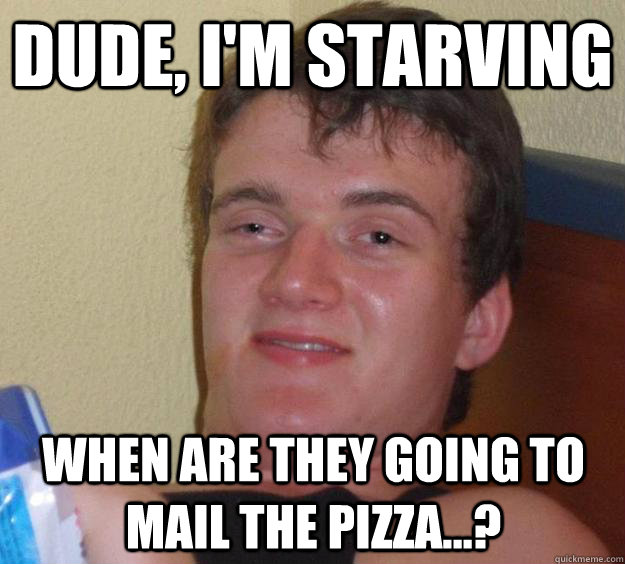 Dude, I'm starving When are they going to mail the pizza...? - Dude, I'm starving When are they going to mail the pizza...?  10 Guy