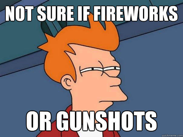 Not sure if fireworks or gunshots - Not sure if fireworks or gunshots  Futurama Fry