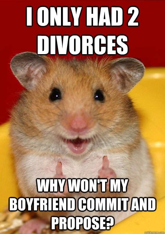 I only had 2 divorces Why won't my boyfriend commit and propose?  Rationalization Hamster