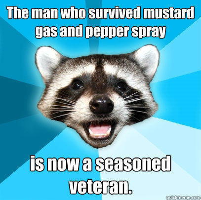 The man who survived mustard gas and pepper spray  is now a seasoned veteran. - The man who survived mustard gas and pepper spray  is now a seasoned veteran.  Lame Pun Coon