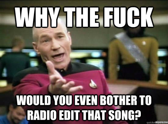 Why the fuck would you even bother to radio edit that song? - Why the fuck would you even bother to radio edit that song?  Annoyed Picard HD
