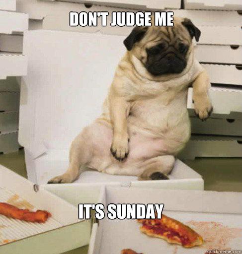 4df81e32f6b1326394d77c912d4194d7622f07ebfd2fde0bc90cdab609b9fc86 it's sunday don't judge me pug pizza quickmeme,Don T Judge Me Meme
