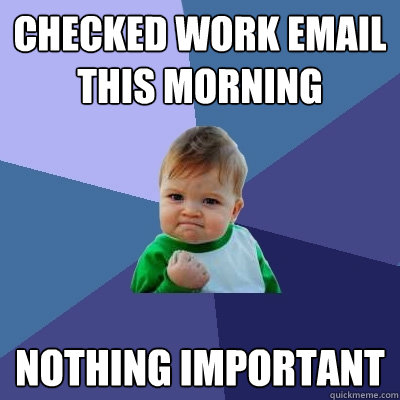 Checked work email this morning nothing important - Checked work email this morning nothing important  Success Kid