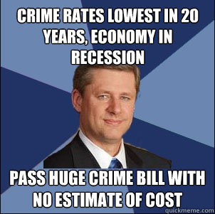 Crime rates lowest in 20 years, economy in recession Pass huge crime bill with no estimate of cost