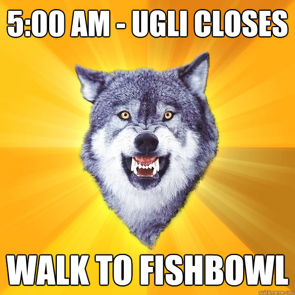 5:00 AM - Ugli closes Walk to fishbowl - 5:00 AM - Ugli closes Walk to fishbowl  Courage Wolf