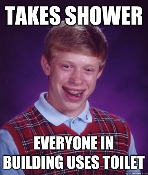 Takes shower Everyone in building uses toilet - Takes shower Everyone in building uses toilet  Bad Luck Brian