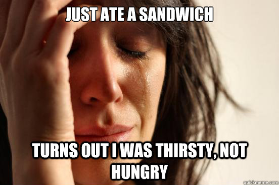 just ate a sandwich turns out I was thirsty, not hungry - just ate a sandwich turns out I was thirsty, not hungry  First World Problems