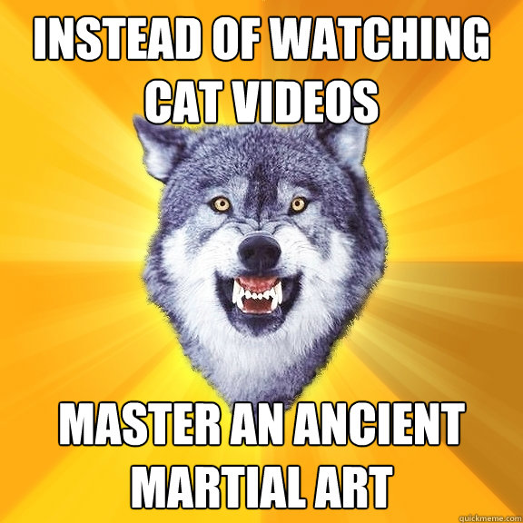 Instead of watching cat videos Master an ancient martial art - Instead of watching cat videos Master an ancient martial art  Courage Wolf