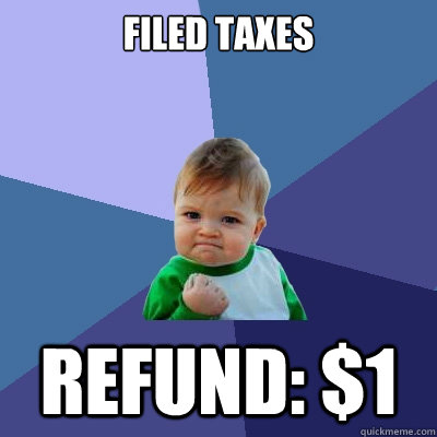 filed taxes refund: $1 - filed taxes refund: $1  Success Kid