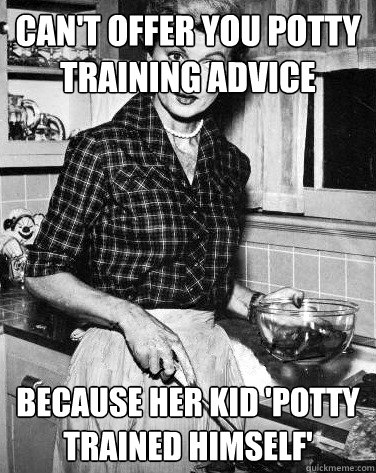 can't offer you potty training advice because her kid 'potty trained himself'