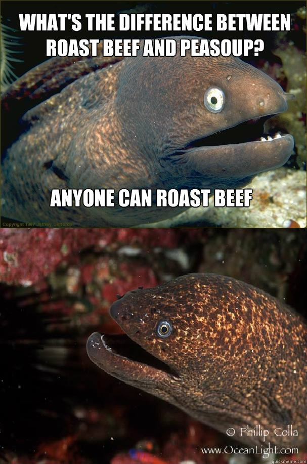 What's the difference between roast beef and peasoup? Anyone can roast beef - What's the difference between roast beef and peasoup? Anyone can roast beef  Bad joke eels makes a friend