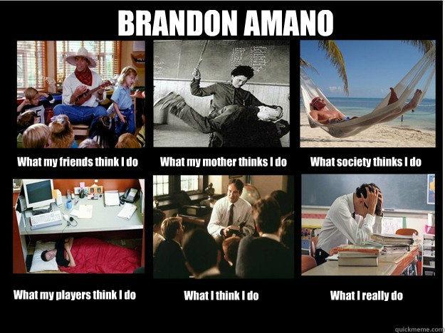 BRANDON AMANO What my friends think I do What my mother thinks I do What society thinks I do What my players think I do What I think I do What I really do  What People Think I Do