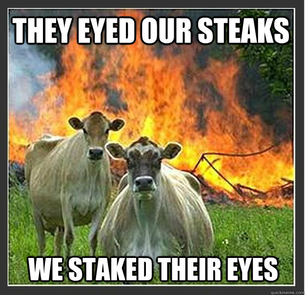 They eyed our steaks We staked their eyes - They eyed our steaks We staked their eyes  Evil cows