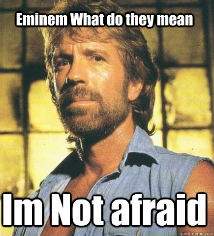 Eminem What do they mean Im Not afraid - Eminem What do they mean Im Not afraid  Chuck Norris Knows