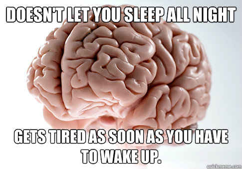 Doesn't let you sleep all night  Gets tired as soon as you have to wake up. - Doesn't let you sleep all night  Gets tired as soon as you have to wake up.  Scumbag Brain