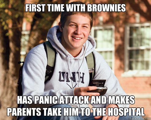 First time with brownies has panic attack and makes parents take him to the hospital - First time with brownies has panic attack and makes parents take him to the hospital  College Freshman