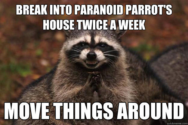 Break into paranoid parrot's house twice a week move things around - Break into paranoid parrot's house twice a week move things around  Evil Plotting Raccoon