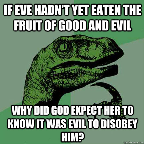 If Eve hadn't yet eaten the fruit of good and evil Why did god expect her to know it was evil to disobey him? - If Eve hadn't yet eaten the fruit of good and evil Why did god expect her to know it was evil to disobey him?  Philosoraptor