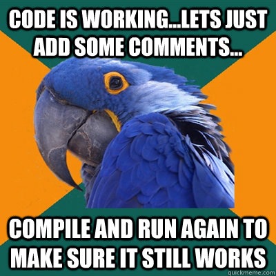 code is working...lets just add some comments... compile and run again to make sure it still works - code is working...lets just add some comments... compile and run again to make sure it still works  Paranoid Parrot