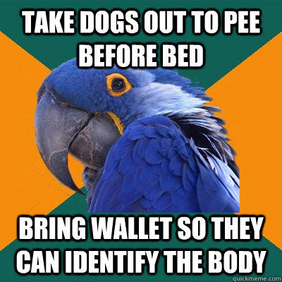 take dogs out to pee before bed bring wallet so they can identify the body  Paranoid Parrot