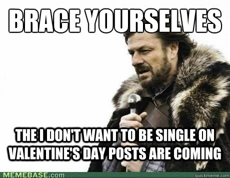 BRACE YOURSELVES The i don't want to be single on valentine's day posts are coming